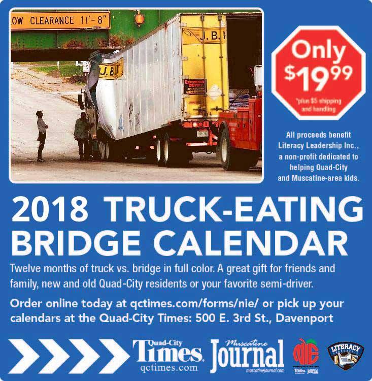 A promo image for the 2018 Truck-Eating Bridge calendar