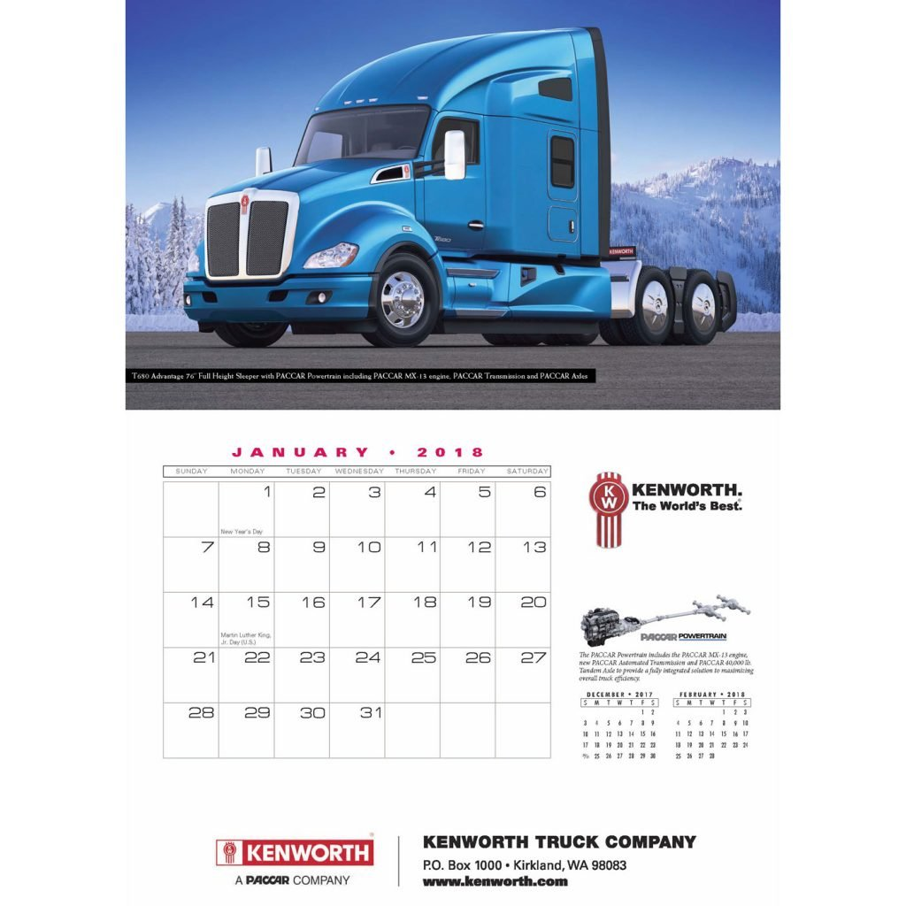 The January page of Kenworth's 2018 Appointment Calendar.