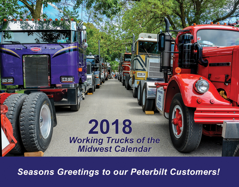 The cover of Midwest Peterbilt's 2018 Working Trucks calendar.