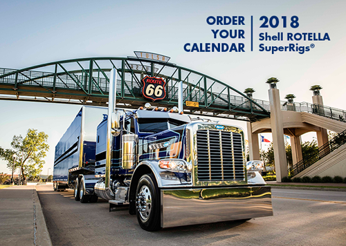 A promotional image for the 2018 Shell ROTELLA SuperRigs Calendar