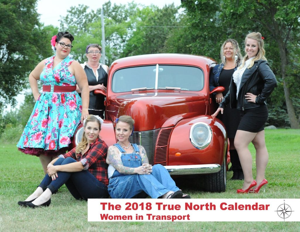 A marketing image for the 2018 True North: Women in Transport calendar.